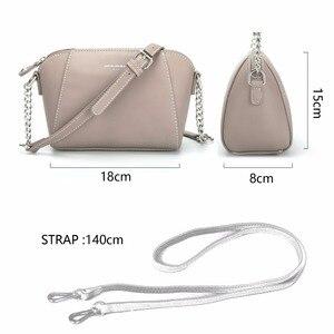 Image 2 - DAVID JONES kadın postacı çantası pu deri kadın crossbody çanta küçük bayan zincir omuzdan askili çanta kız marka çanta damla nakliye