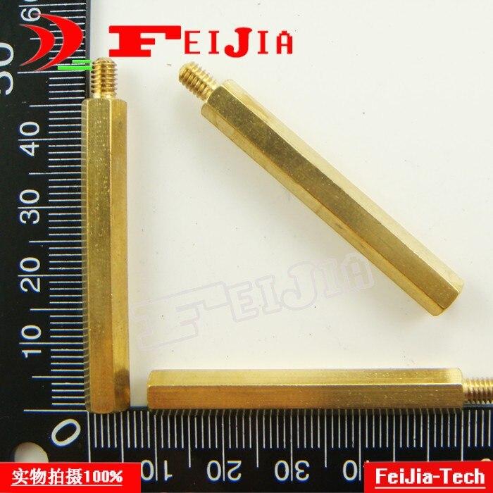 Free shipping 10PCS/LOT M4*40+6mm single head hexagonal copper pillars interval columns brass Hardware Fasteners Bolts