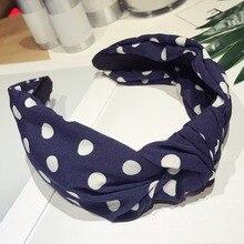 цены Korean Style 3 Colors Knotted Dot Wide Hairbands Boho Turban Head Wrap Headbands For Women Hair Accessories