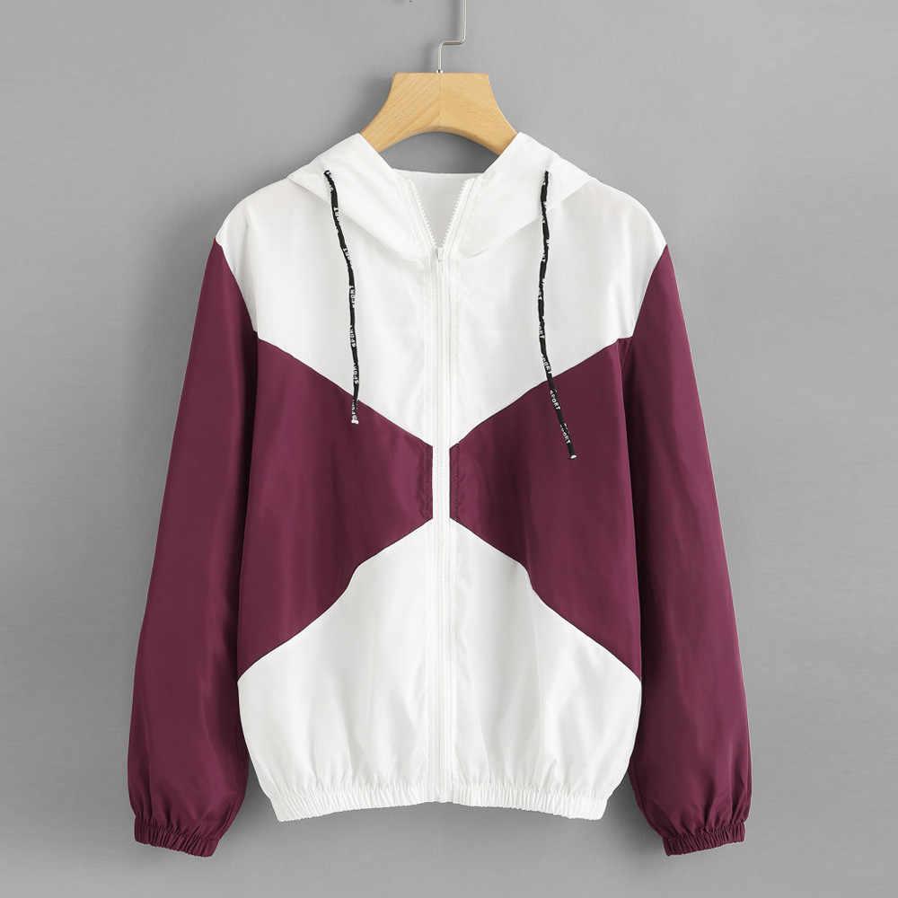 Kancohold/Осенняя куртка-бомбер модные Лоскутные тонкие облегающие костюмы с капюшоном на молнии и карманом, повседневная одежда пальто с длинными рукавами PJ0815
