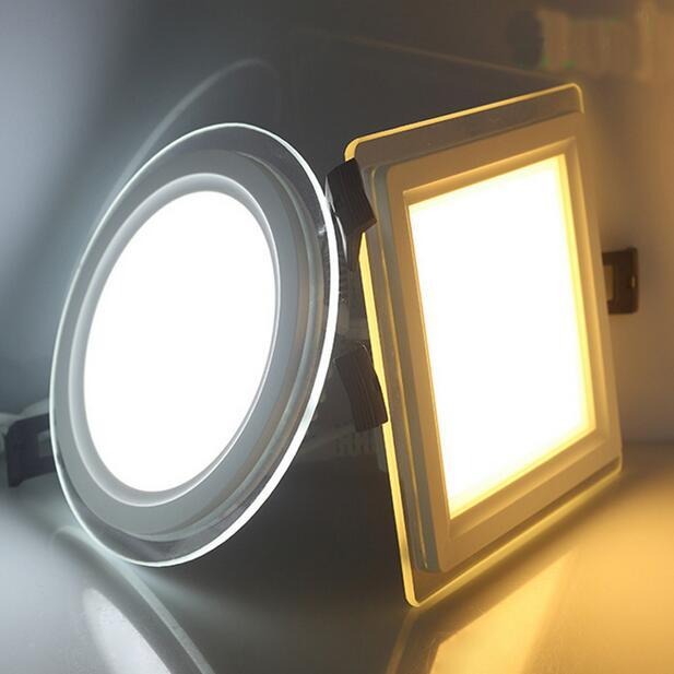 10gab / partija Dimmable LED Panel Downlight kvadrātveida stikla paneļa gaismas Griestu iegremdētās lampas mājām SMD5730 AC110V AC220V