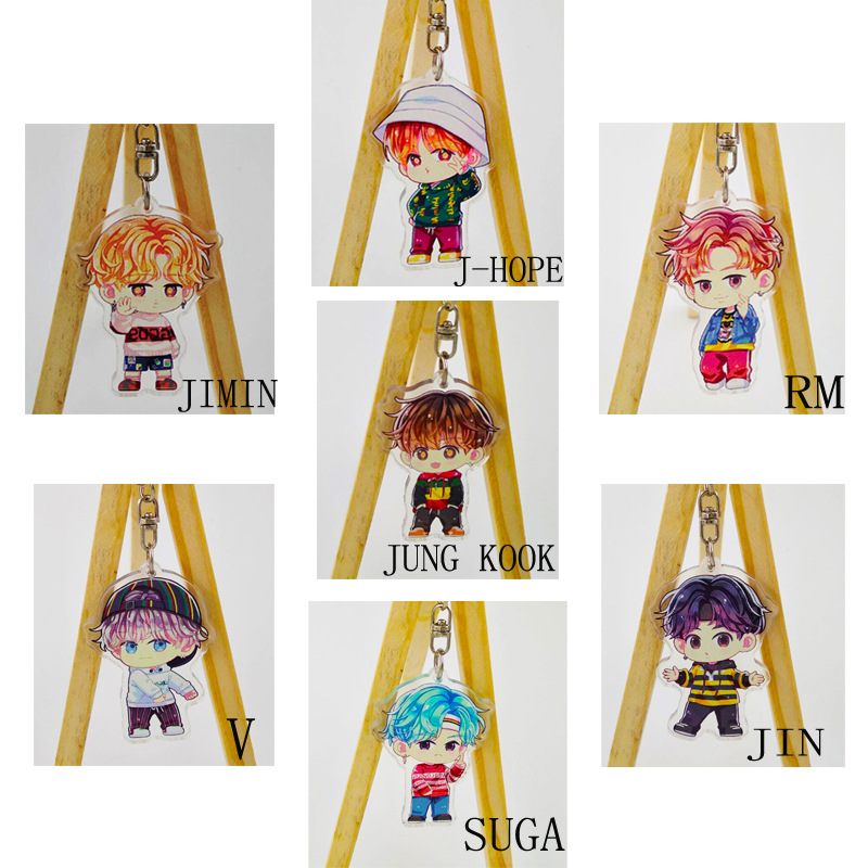 Kpop BTS Bangtan Boys JUNG-KOOK JIN SUGA J-HOPE RM JIMIN PVC Pendant Keychain Keyring Ornament Cosplay Collection ARMY Gift