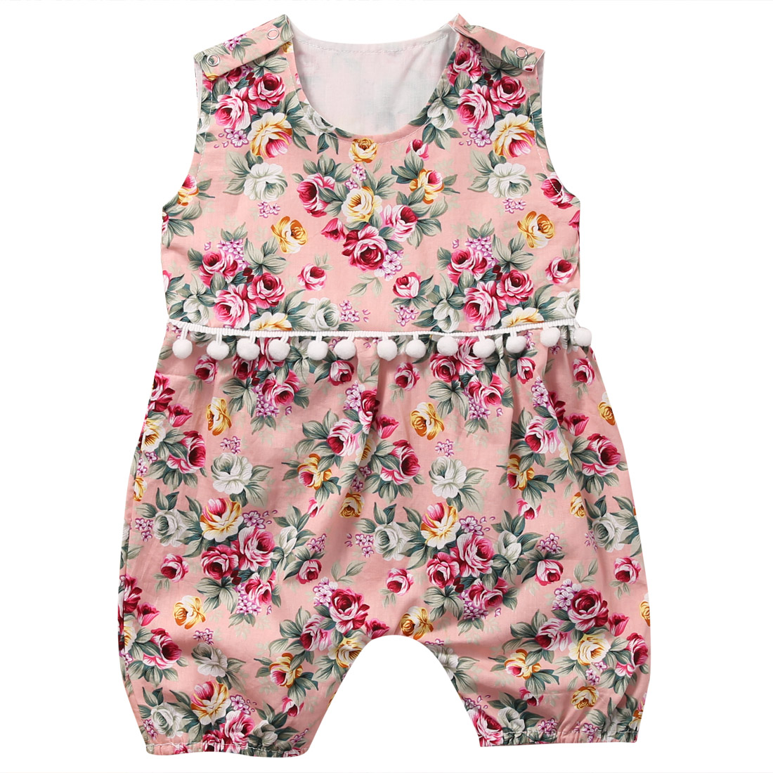 Summer Newborn Baby Girls Floral Romper Sleeveless Flower Tassels Rompers Jumpsuit Sunsuit Clothes Infant Clothing 0-18M newborn baby backless floral jumpsuit infant girls romper sleeveless outfit