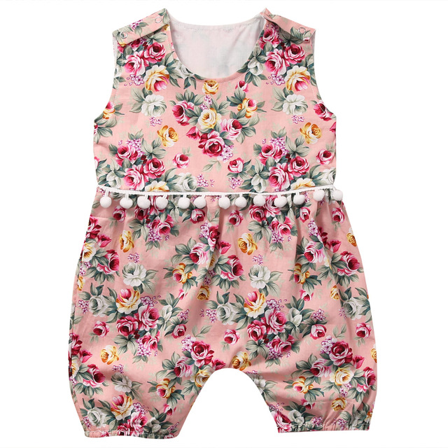 fc06e2a3a8cea Summer Newborn Baby Girls Floral Romper Sleeveless Flower Tassels Rompers  Jumpsuit Sunsuit Clothes Infant Clothing 0