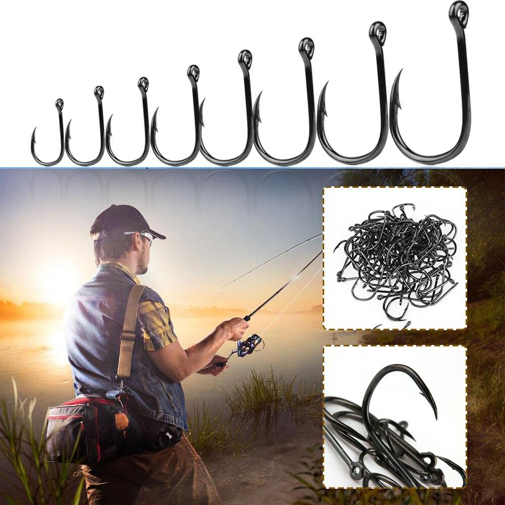 Lot 100pcs 5 Sizes Carbon Steel Fishing Bait Sharpened Hook Fishhook Jig Lures