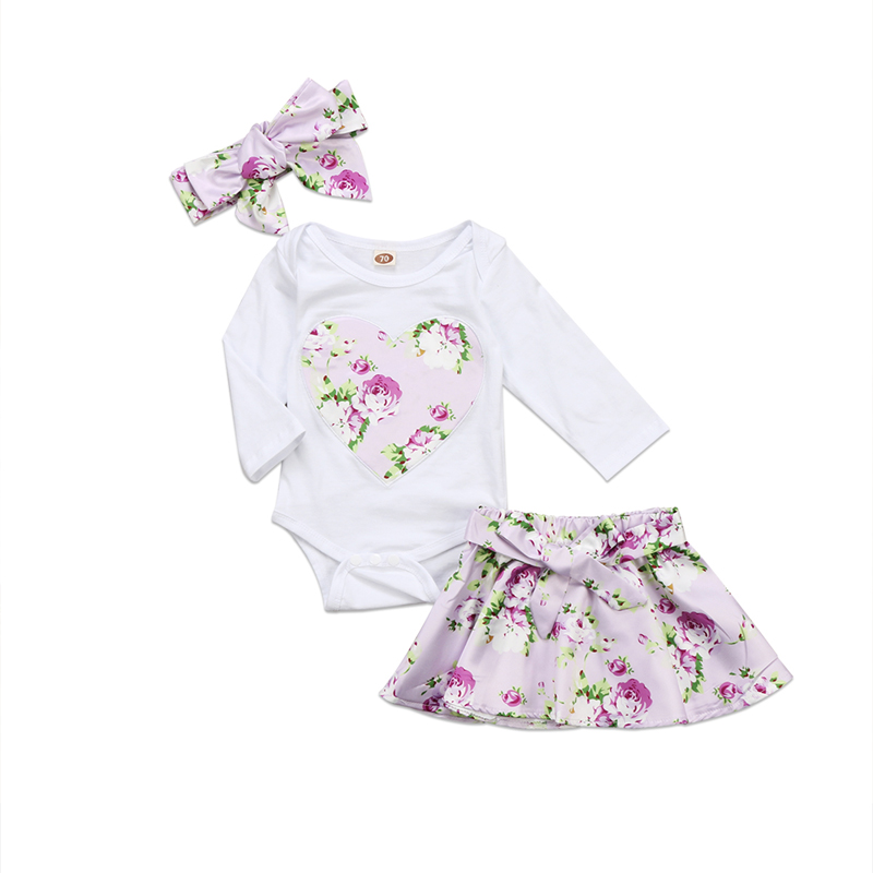 Newborn Infant Baby Girl Clothes Lovely Long Sleeve Romper Jumpsuit Floral Skirt Outfits Clothes Set
