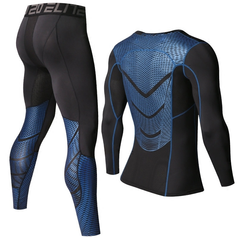 Foto of parts Men's compression t-shirt & pants for sport. 2 pieces Men's compression t-shirt & pants for sport