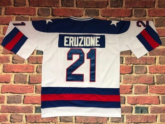 #21 Mike Eruzione 1980 Cud USA Hokej Na Lodzie UNSIGNED CUSTOM Jersey BIAŁY i NIEBIESKI