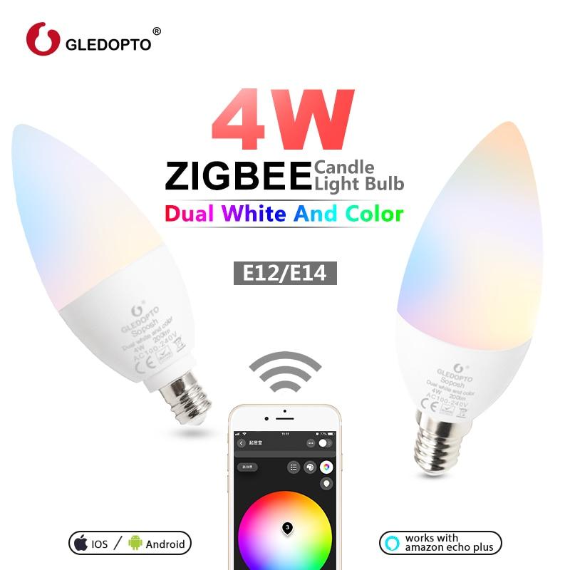 GLEDOPTO zigbee zll led 4W candle light bulb rgb/rgbw/rgbww/cw smart APP control AC100-240V gateways rgb+cct 3.0