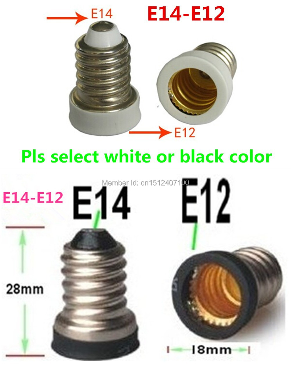 10pcs e14 to e12 base adapter converter lamp holder e14e12 led light bulb base