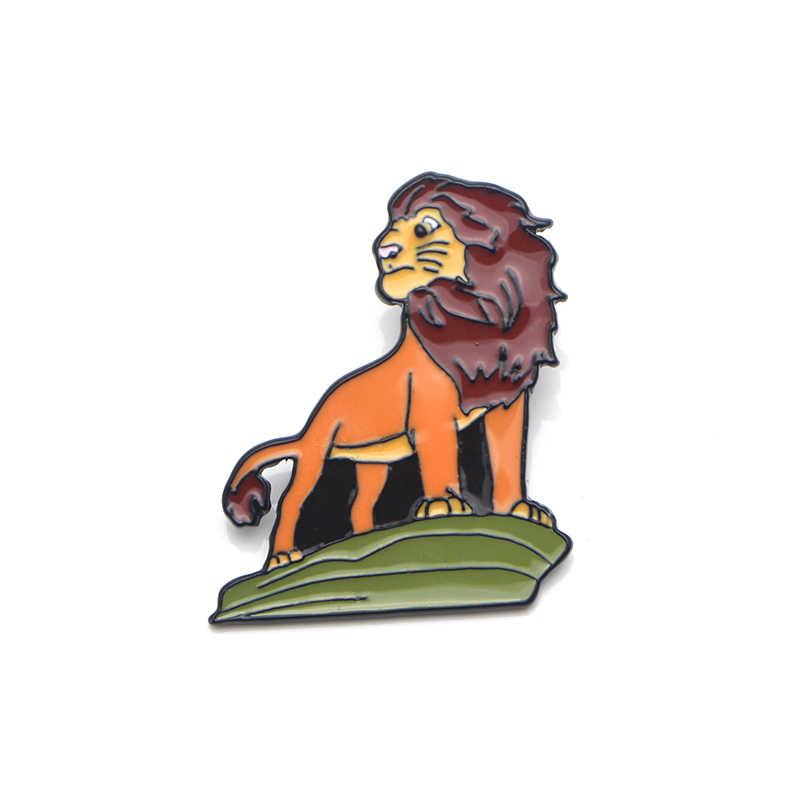 K235 The Lion King Kartun Logam Enamel dan Bros untuk Wanita Pria Lapel Pin Ransel Lencana Denim Bros Kerah perhiasan