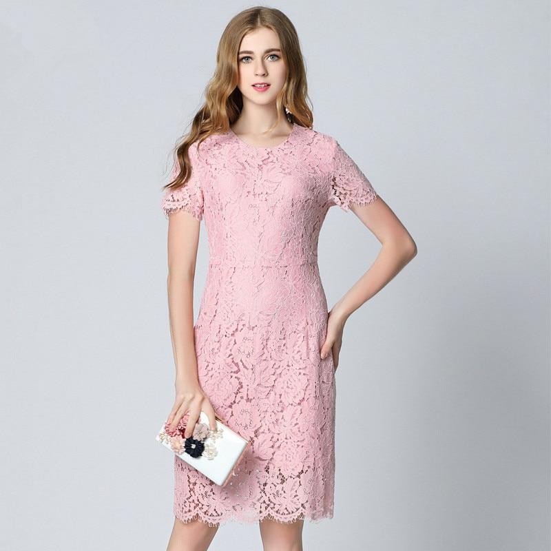 2017 Zomerwimper kanten jurk Plus-size roze jurken voor - Dameskleding