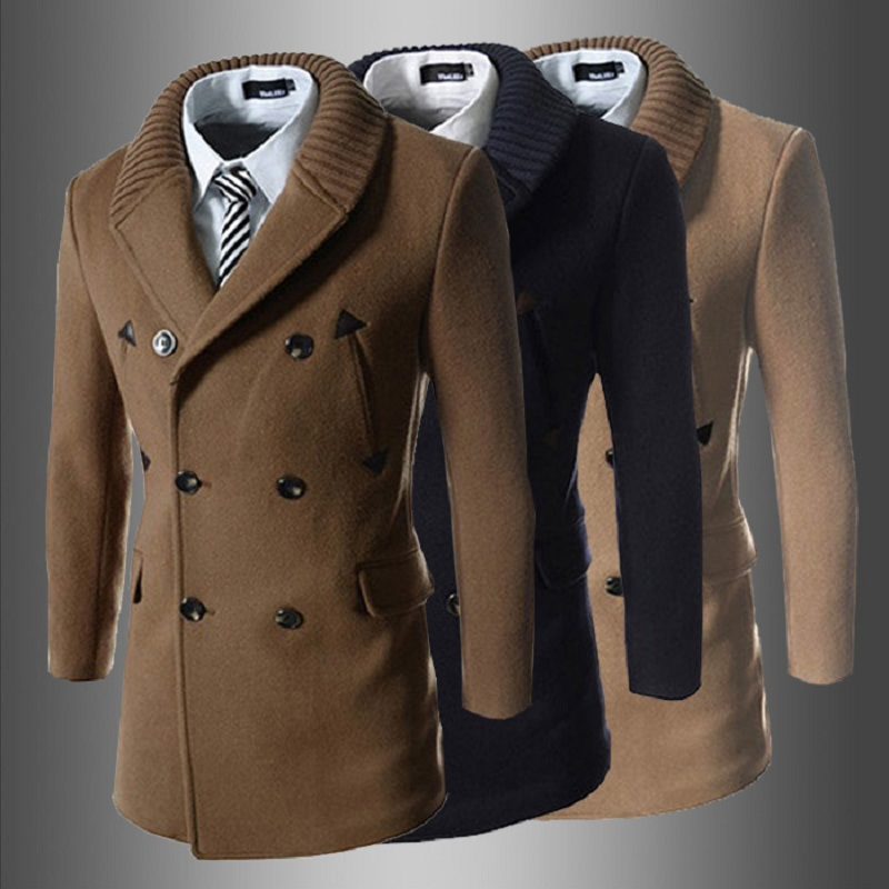 2018 spring and autumn new tide goods knit collar stitching skin Korean version of the men's slim long   trench   coat men's jacket