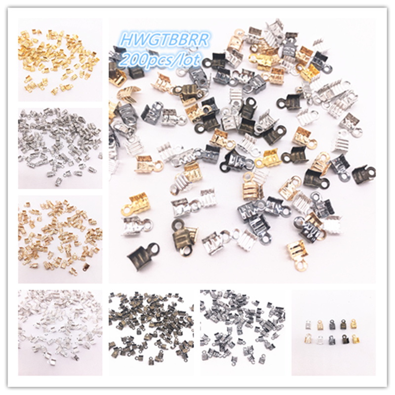 200Pcs 3.5x7/2.5x5.5mm Small Cord End Tip Fold Over Three-wire Clasp Crimp Bead Connector DIY Jewelry Making For Accessories