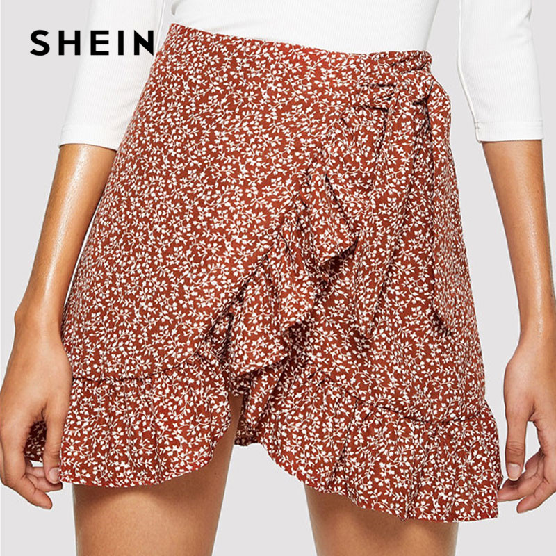 SHEIN Modern Lady Multicolor Asymmetrical Ruffle Hem Floral Skirt Summer Casual Women Going Out Above Knee Short Skirts 2