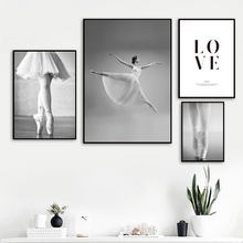 цена Black White Ballet Girl Love Quote Figure Wall Art Canvas Painting Nordic Posters And Prints Wall Pictures For Living Room Decor онлайн в 2017 году