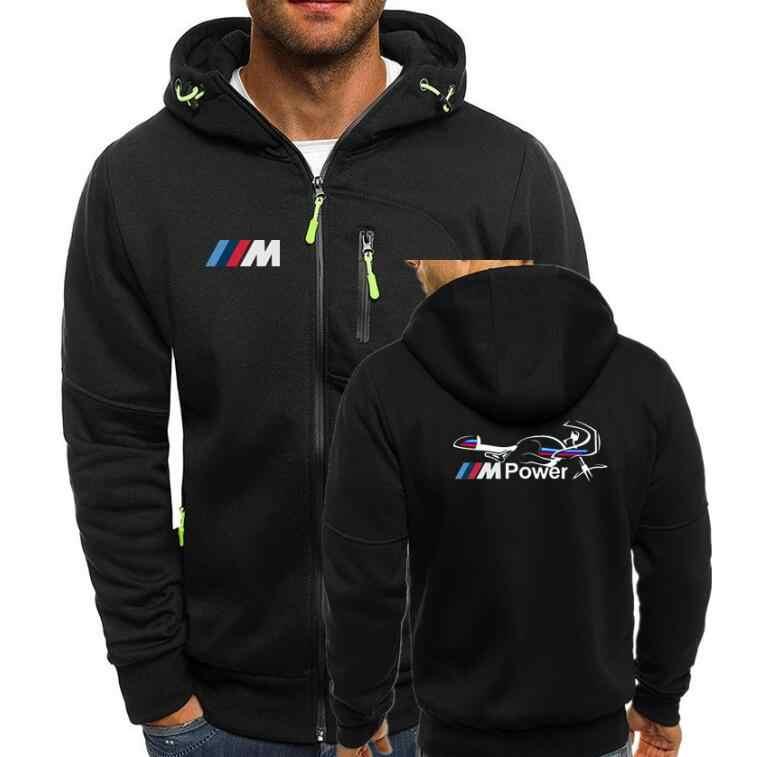 Для мужчин толстовки спортивный костюм автоспорта Мощность принт осень-зима кулиска с капюшоном Толстовка с длинным рукавом Zip Тонкий пальто мужской пиджак