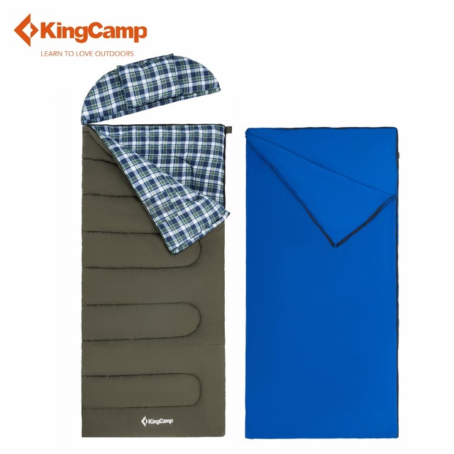 Kingcamp Forest 500 3 In 1 Oversize Flannel Lined Envelop Sleeping Bag With
