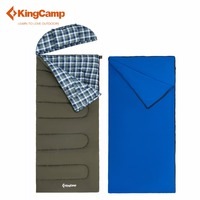 KingCamp KingCamp FOREST 500 3 in 1 Oversize Flannel Lined Envelop Sleeping Bag with Hood and Pillow Lazy bag