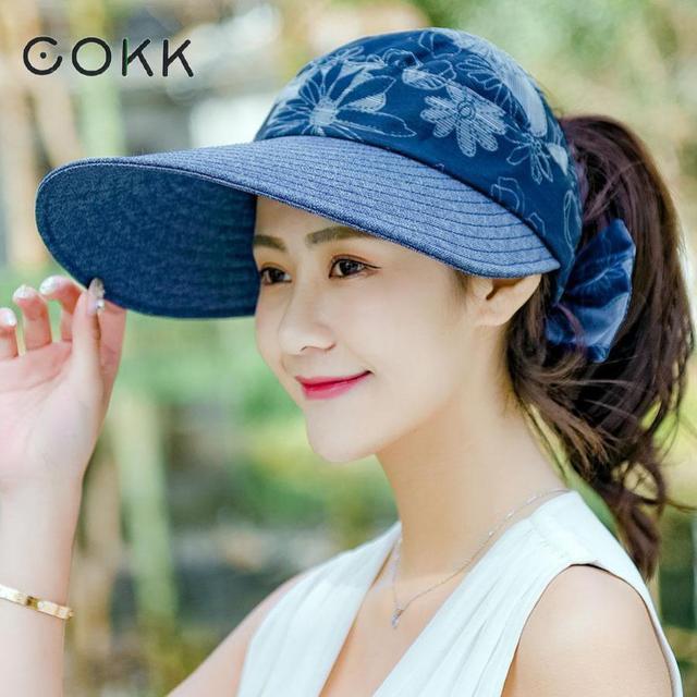 aa09640ca6d COKK Summer Hats For Women Chapeau Femme Large Wide Brimmed Folding Sun Hat  Female Travel Outdoor