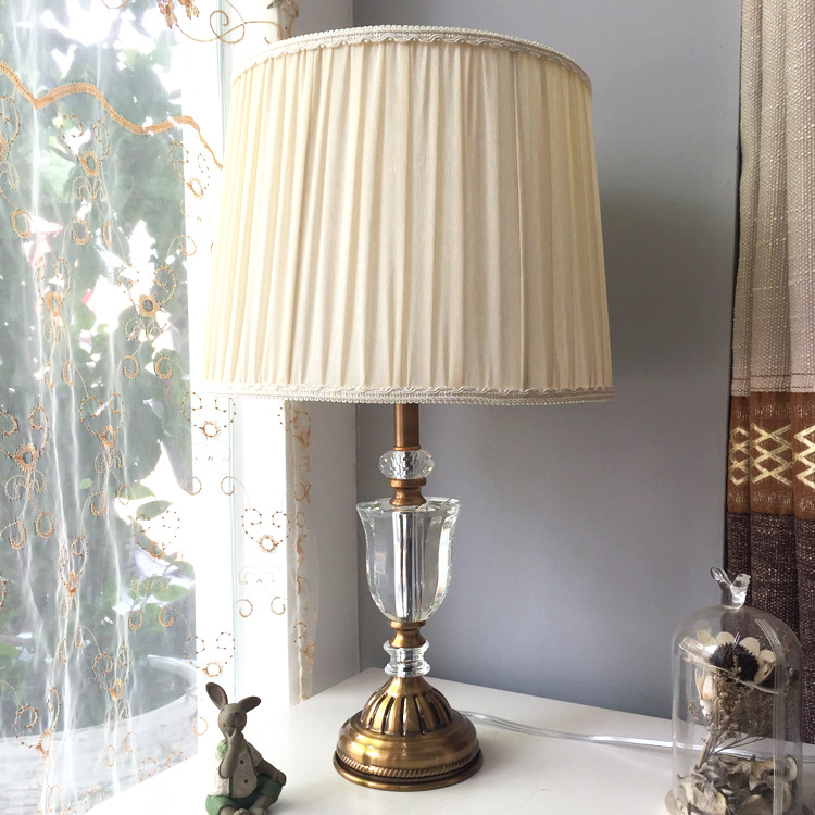 TUDA 36X60cm Free Shipping Modern European Style Table Lamp Pink Fabric Lampshade Table Lamp Luxury K9 Crystal Table Lamp E27
