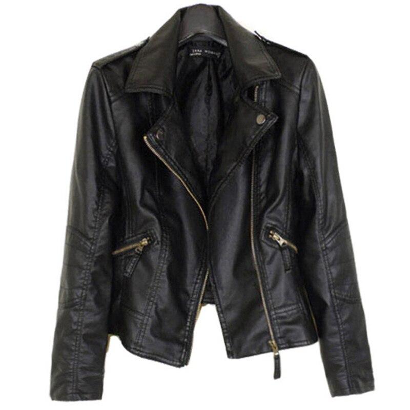 Brand Motorcycle Faux Coat 2019 Fashion Spring Winter Faux   Leather   Jacket Women Casual Basic PU Plus Size xxxl 4xl Black Pink