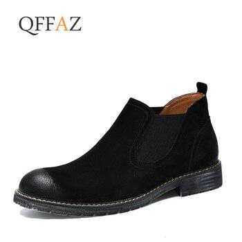 Novos Homens Botas Chelsea Deslizamento Em Camurça De Alta Superior Homens Clássicos Botas Chukka Couro Genuíno Ankle Boots Moda Cowboy Masculino bota
