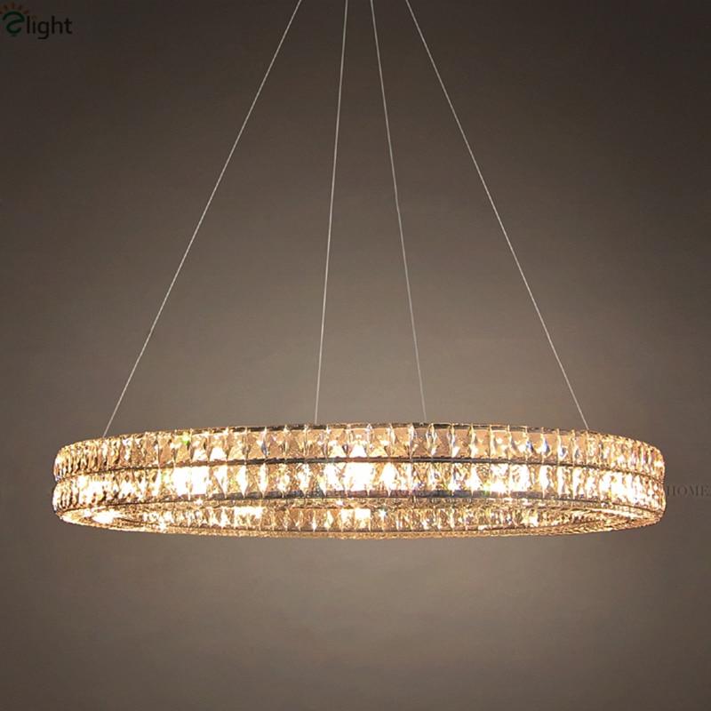 Round Hanging Light: American RH Spiridon Lustre De Cristal Led Round Pendant Light Vintage  Minimalism K9 Crystal Hanging Ring,Lighting