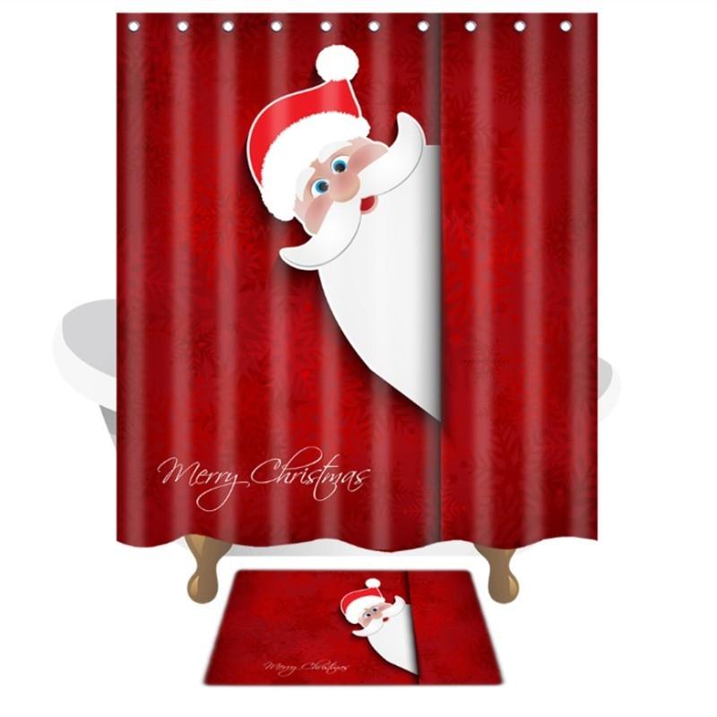 Cortinas De Baño Quality:Cortina de Ducha de Poliéster Lindo Diseño de la Navidad Cortinas De