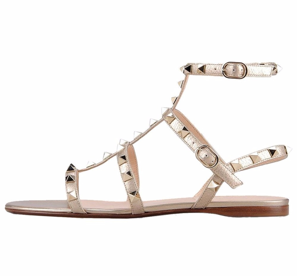 2016 New Fashion Customize Women's Open Toe Rivets Sandals Ankle Strap Buckle Shoes Slingback studed Flats for party big size15 amourplato womens handmade pointed toe ankle wrap flats bridesmaid ballerinas ankle strap flats shoes with buckle size5 13