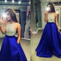 2016 New Royal blue Prom Dresses Halter Beaded Top A Line Floor Length Satin Party  Dress Vestidos Prom gown custom made