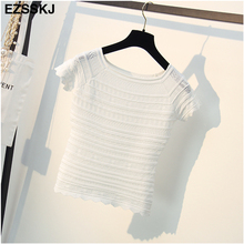 basic t shirt women 2018 new O-neck black knit t-shirt for women hollow out casual t shirt female slim short sexy tops tees crop