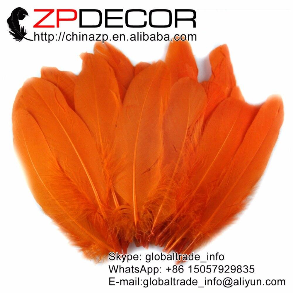 e9da8758d2d7 Zpdecor Plumas 100 unids lote mano seleccionar Premium calidad naranja  ganso satinettes suelta Plumas s al por mayor para el Carnaval Plumas