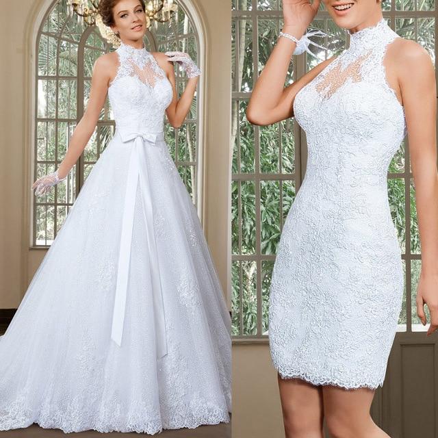 2016 de lujo de encaje blanco vestido de novia una línea de halter