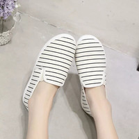 Ladies Women's Flats Fashion High Quality Basic Striped Canvas Slip On Casual Shoes Low Heel Flat Shoes Women's Platform shoes