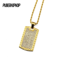 JFY Bling Crystal Rhonestones Christian Jewelry Bible Lords Prayer Dog Tag 18 K Gold Plated Iced