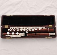 Professional Grenadilla Rose Wooden Flute Open Hole B foot Split E New Wood Case