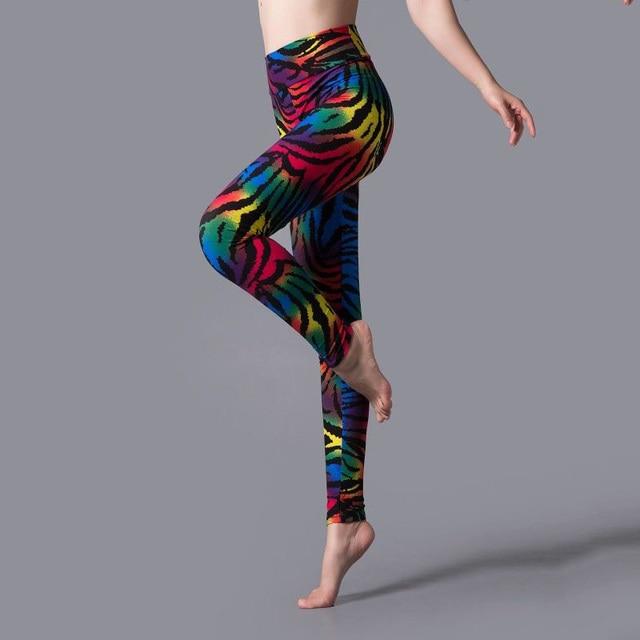 YSDNCHI New Stripe Leopard Print Leggings Women High Waist Legings Work Out Legging Sporting Push Up Trousers Fitness Leggins 2