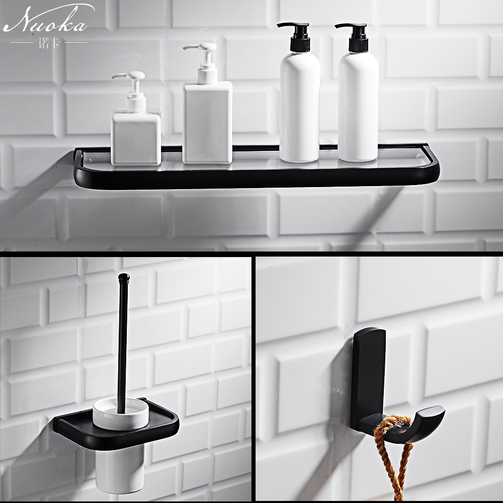 Bath Hardware Sets Useful Black Multi-function Corner Showe Shelf Toilet Paper Holder Bath Folding Towel Rack Wall Hanging Retro Bathroom Pendant Set Bathroom Fixtures
