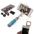 Комплект телефон Объектив Рыбий Глаз Макро Широкий Угол Линзы Lentes Мини проводной Selfie Палка Монопод Selfie Flash Заполняющий Свет Для iPhone Xiaomi