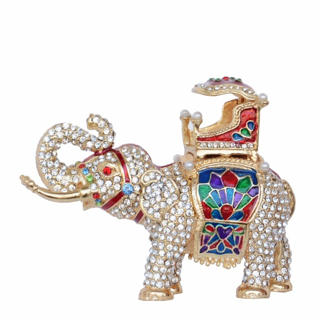 Bling Crystal Jeweled Elephant Treasured Trinket Box Metal Jewellery