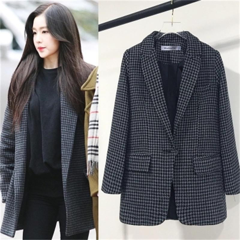 Women Plaid Blazers And Jackets Suit Ladies New Spring And Autumn Long Sleeve Work Wear Casual Women Outerwear Wear To Work Coat
