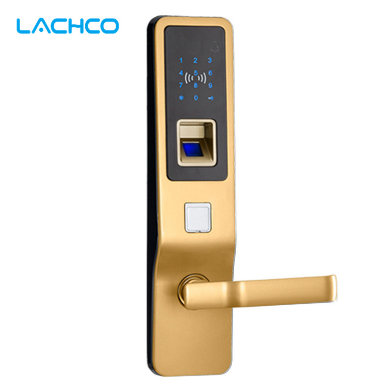 LACHCO Fingerprint Smart Door Lock Digital Touch Screen  Password Keypad Access Control Card Intelligent Security L16080SG high tech door locks apartment combination lock touch keypad for door access
