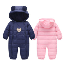 Baby Winter Snow Wear Clothes Unisex Newborn Snowsuit Baby Warm Romper Infant Double Zipper Hooded Jumpsuit Boys Girls Overalls