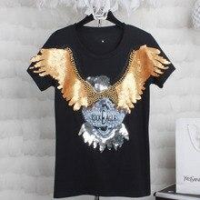 Harajuku mulheres t shirt 2019 moda senhoras verão tops de manga curta  o-pescoço rock eagle lantejoulas tshirt plus size xxl 3xl. cf675418778