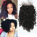 3B 3C Kinky Curly Lace Closure 7A Brazilian Virgin Hair Closure 4x4 Brazilian Kinky Curly Human Hair Lace Closure With Baby Hair
