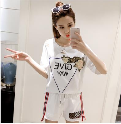 The new summer 2017 han edition of loose t shirts fashion leisure two piece suit font