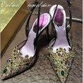 США 4-9 Женщины Стрэп Шику Горный Хрусталь Каблуки Сексуальные Острым Носом Невесты Высокий Каблук Cystal Свадебные Туфли