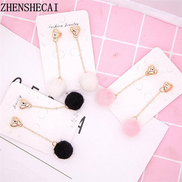 South Korea Dongdaemun Ball Earring heart designer black pink white geometric circle long earring drop for women jewelry e0444