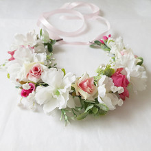 Women Wedding Party Headwear Hair Accessories Girl Pink White Flower Wreath Crown Festival Headband Headdress Floral Garland